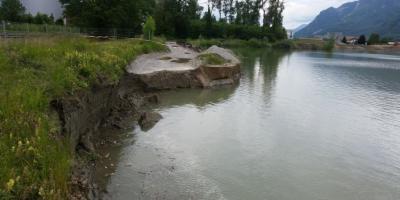 Carte bathymétrique pour évaluation d'une zone de glissement